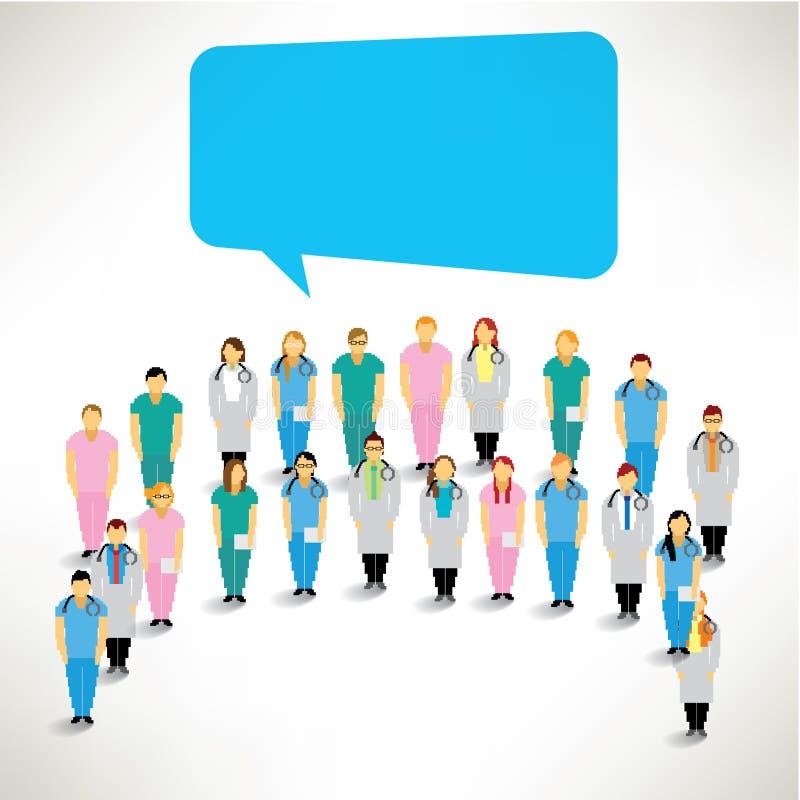 Большая группа в составе сбор медицинской бригады совместно иллюстрация вектора