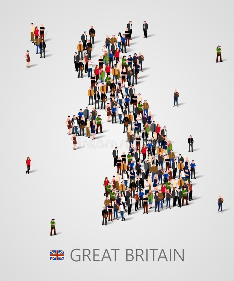 Большая группа людей в форме карты Великобритании континентальная соединенная политическая карты королевства Предпосылка для пред иллюстрация штока