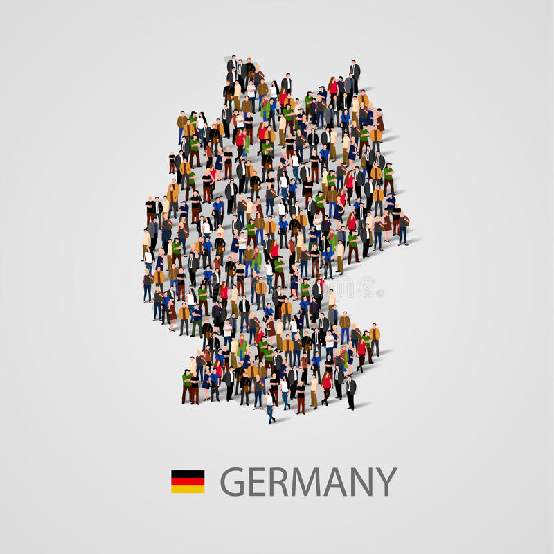 Большая группа людей в форме карты Германии Предпосылка для представления иллюстрация штока