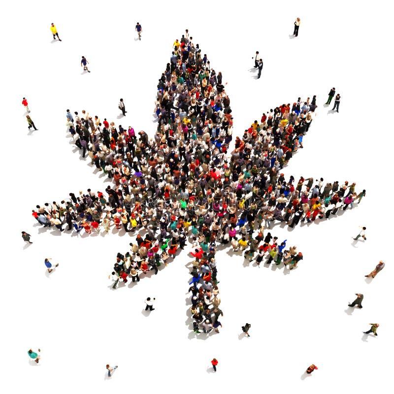 Большая группа людей которое поддерживает марихуану стоковое изображение rf
