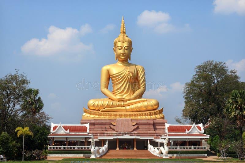 Большая золотая статуя Будды стоковые изображения