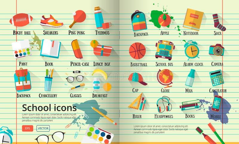 Большая иллюстрация школы на линии бумаге тетради установленные иконы образования Назад к предпосылке школы творческой с obje под иллюстрация вектора