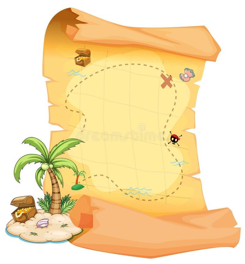Большая карта сокровища и остров бесплатная иллюстрация