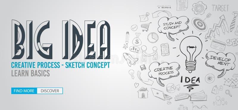 Большая концепция идеи с стилем дизайна Doodle: Находить решения бесплатная иллюстрация