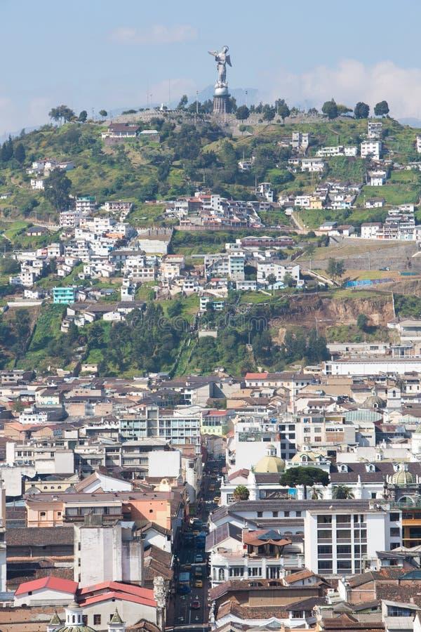 Большая панорама Кито с Panecillo, эквадора стоковая фотография