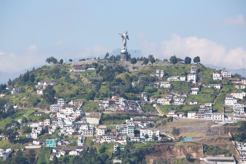 Большая панорама Кито с Panecillo, эквадора стоковое изображение