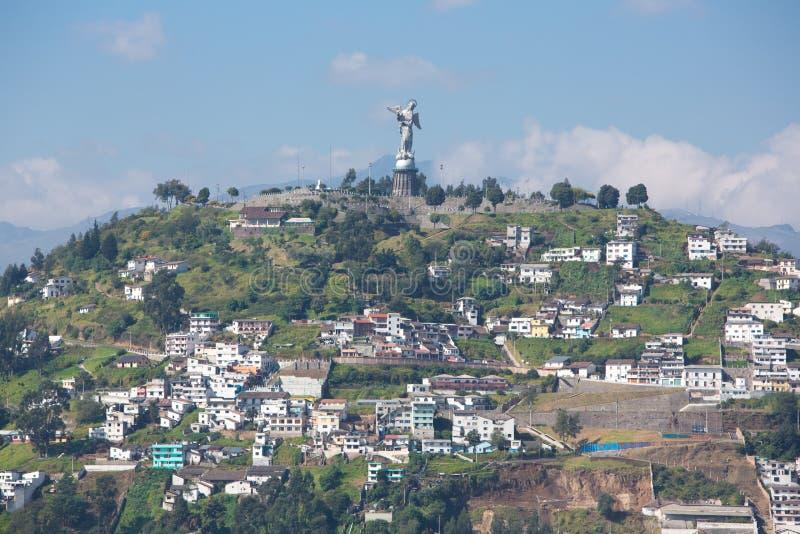 Большая панорама Кито с Panecillo, эквадора стоковое фото