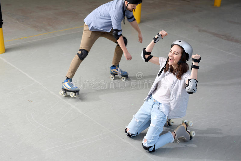 Большая потеха на коньках ролика стоковое фото