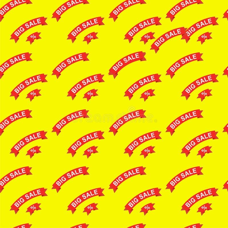 Большая продажа и картина скидок безшовная Красная бумажная лента с текстом на иллюстрации желтой предпосылки плоской Для товаров иллюстрация штока