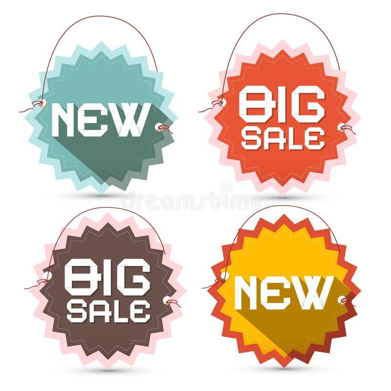 Большая продажа и новое название на Toothed ярлыках иллюстрация штока