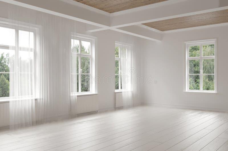Большая пустая просторная яркая белая комната просторной квартиры бесплатная иллюстрация