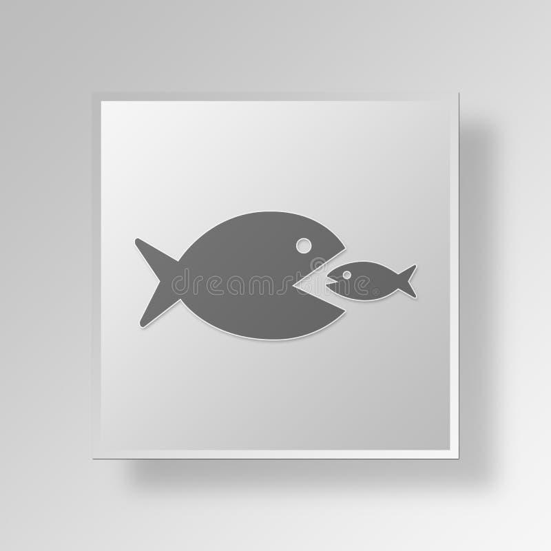 большая рыба 3D ест малую концепцию дела значка рыб иллюстрация вектора