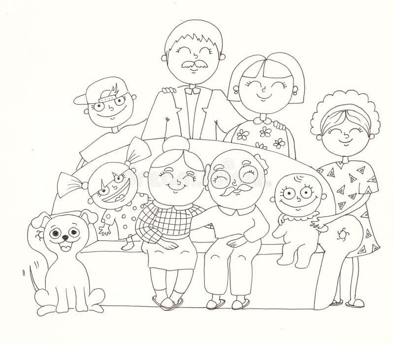 большая семья рисунок карандашом нет