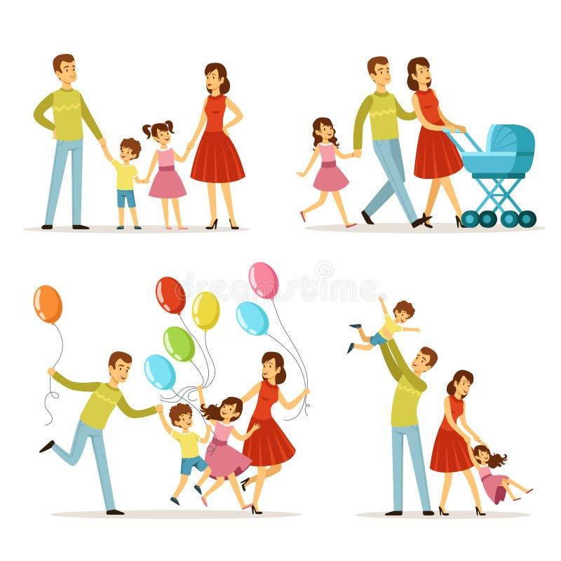 большая семья Отец, беременная мать, маленький младенец Набор символов вектора счастливые люди иллюстрация штока
