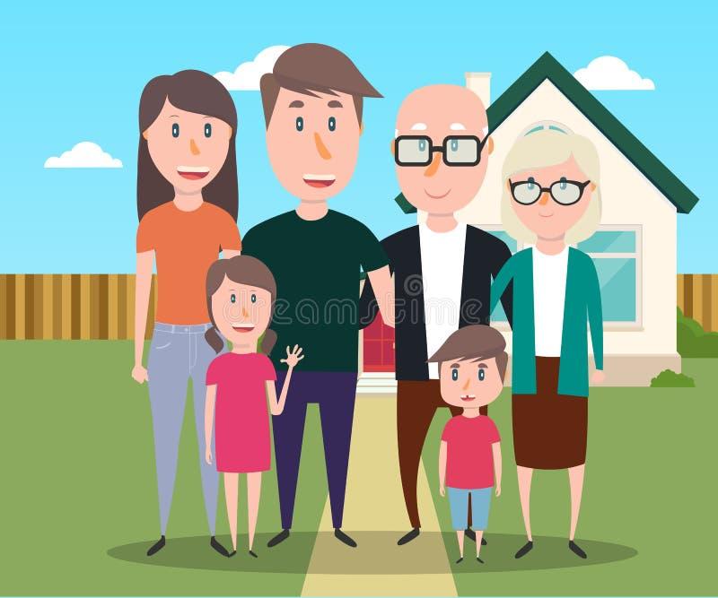 большая семья иллюстрация вектора