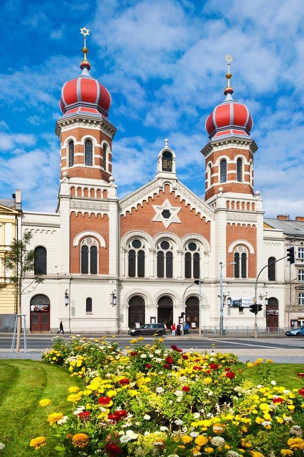 Большая синагога, городок Pilsen, Богемия, чехия стоковые фотографии rf