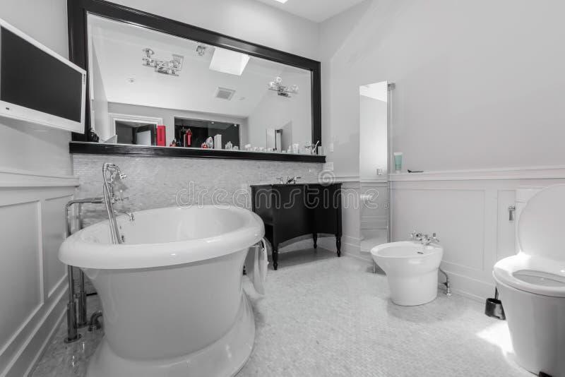 Большая стильная классическая ванная комната стоковые изображения rf