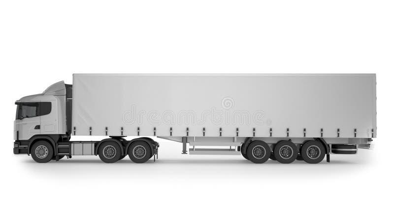Большая тележка груза на белой предпосылке иллюстрация штока