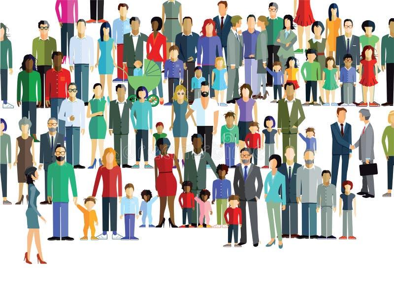 Большая толпа разнообразных людей иллюстрация вектора