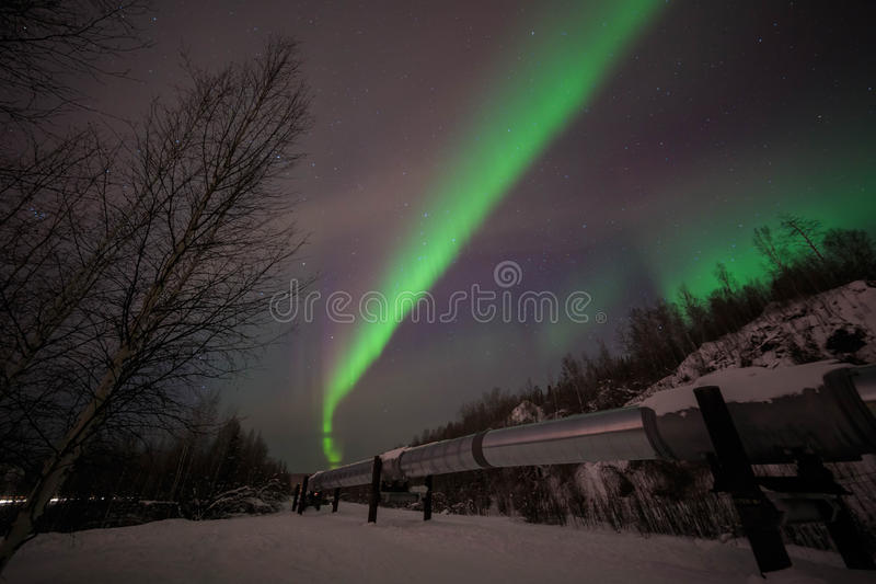 Большая труба, рассвет, ноча на Аляске, fairbanks стоковые изображения rf