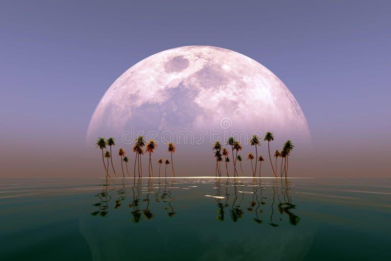 Большая луна над островом иллюстрация вектора