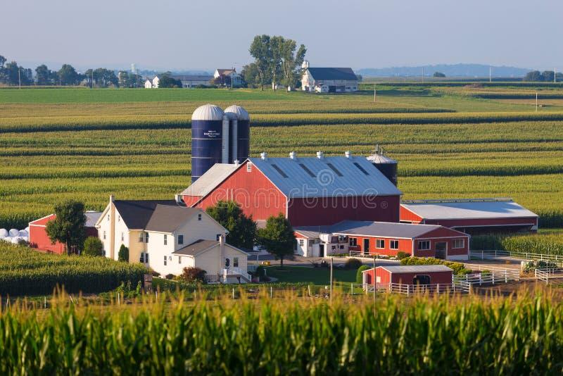 Большая ферма Lancaster County Амиша в долине стоковые фотографии rf