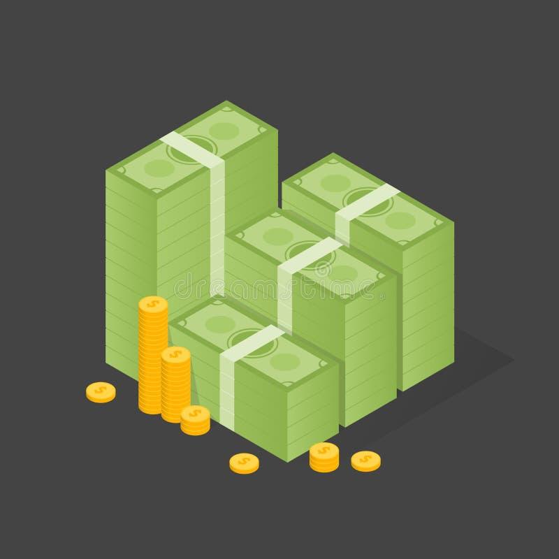 Большая штабелированная куча наличных денег и некоторых золотых монеток Плоская иллюстрация стиля иллюстрация вектора