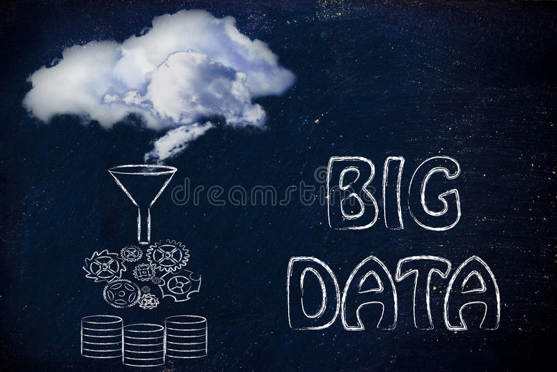 Большие данные и облако вычисляя: облака будучи перенесенным в se иллюстрация вектора