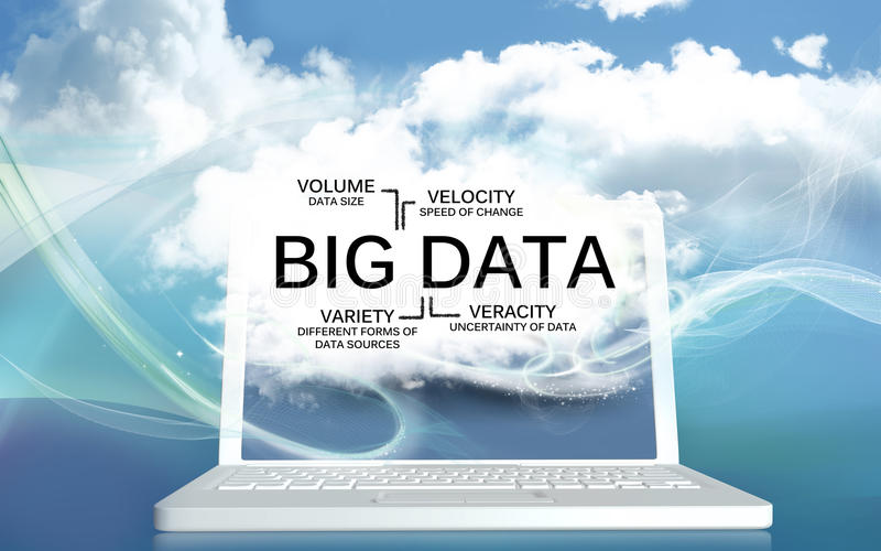 Большие данные V на компьтер-книжке с облаками бесплатная иллюстрация