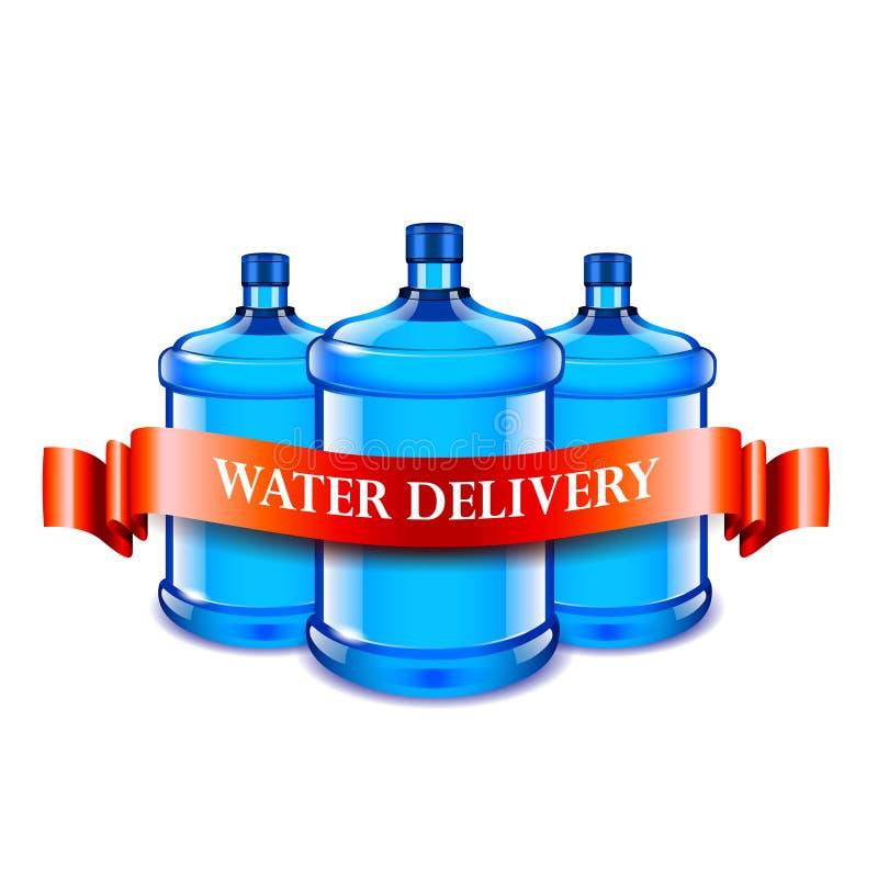Большие бутылки и красная лента, концепция поставки воды иллюстрация штока