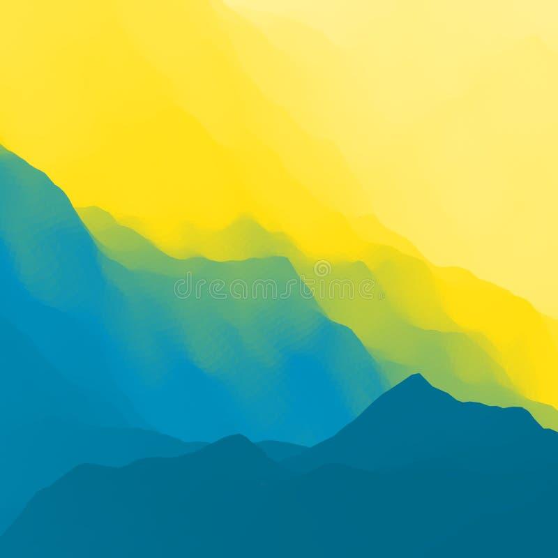 большие горы горы ландшафта Гористая местность Дизайн горы Силуэты вектора предпосылок гор Заход солнца иллюстрация вектора