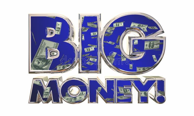 Большие деньги зарабатывают слова джэкпота дохода дохода бесплатная иллюстрация