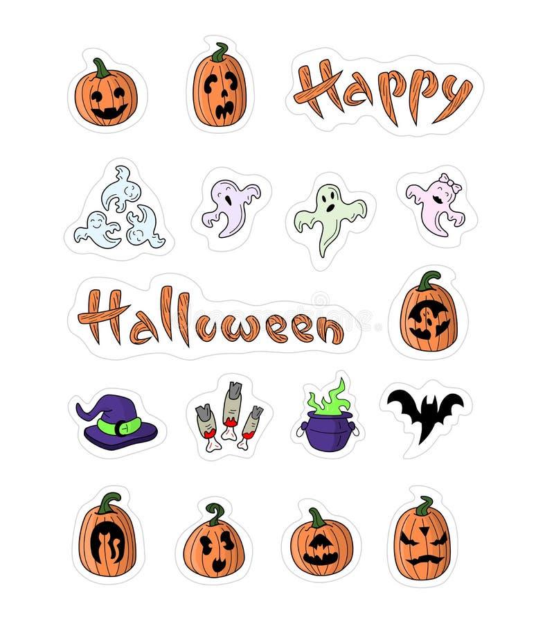 Большие конструированные тыквы шаржа на хеллоуин иллюстрация штока