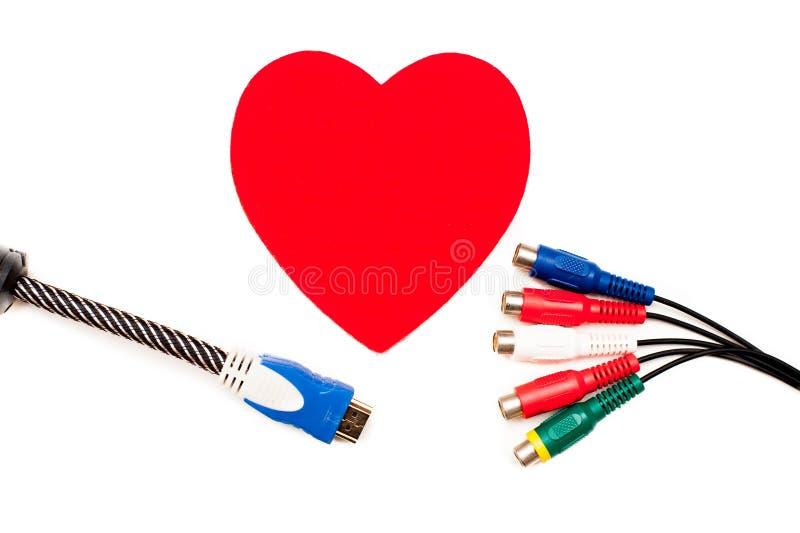 Большие красные сердце и концепция сетноого-аналогов соединения стоковые изображения