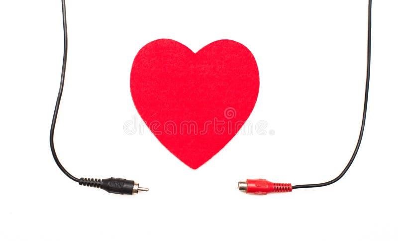 Большие красные сердце и концепция сетноого-аналогов соединения стоковые фотографии rf