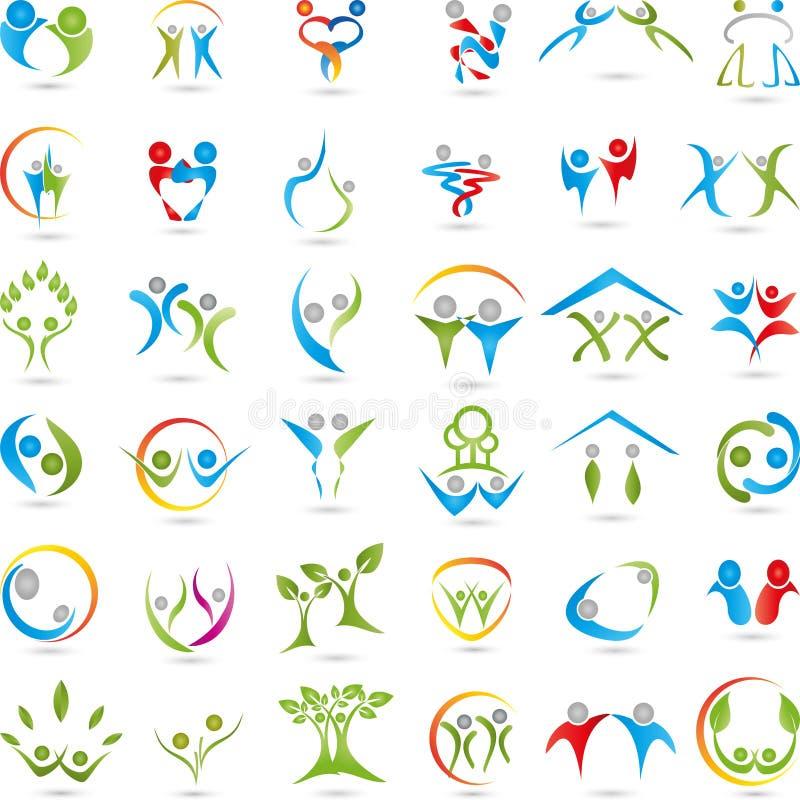 Большие логотипы собрание, люди, персона бесплатная иллюстрация