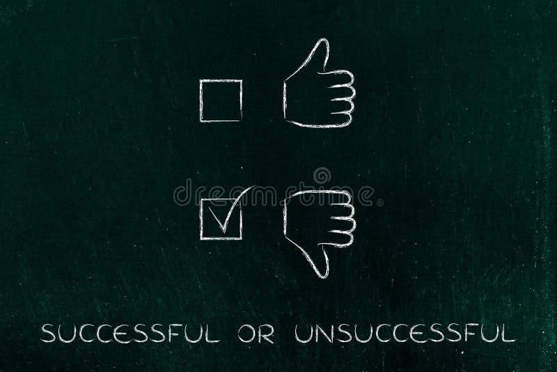Большие пальцы руки вверх или большие пальцы руки вниз, отрицательный случай тикали стоковые изображения rf