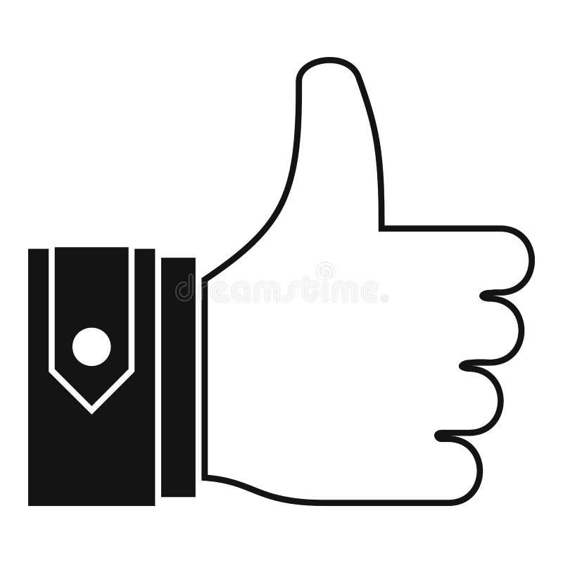 Большие пальцы руки вверх по значку, простому стилю иллюстрация штока