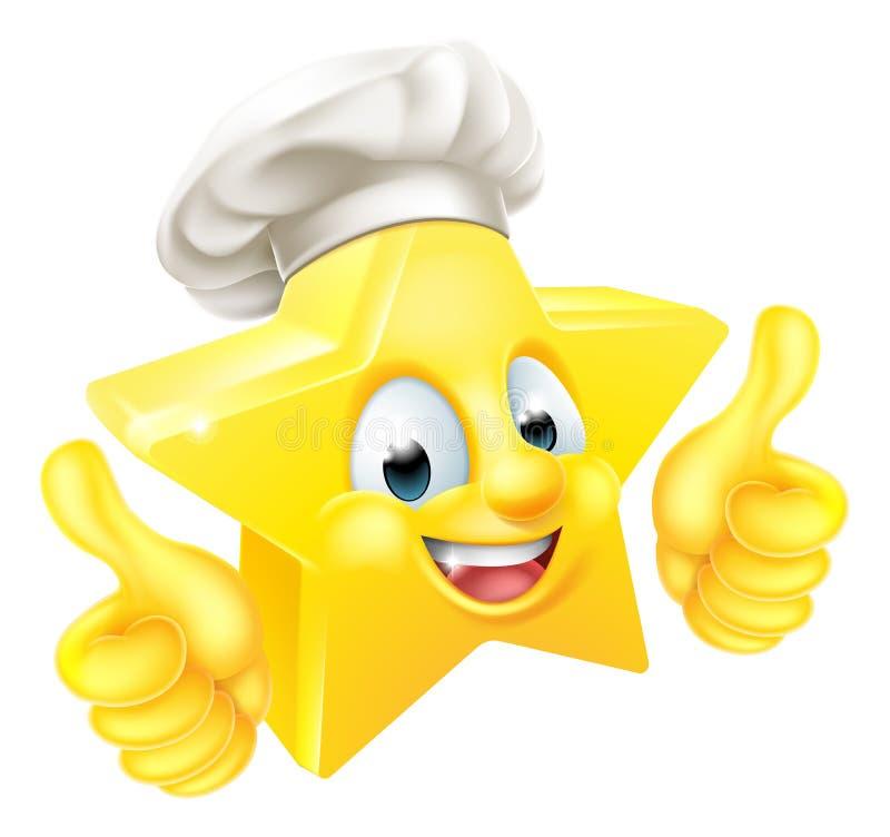 Большие пальцы руки поднимают шеф-повара звезды иллюстрация штока