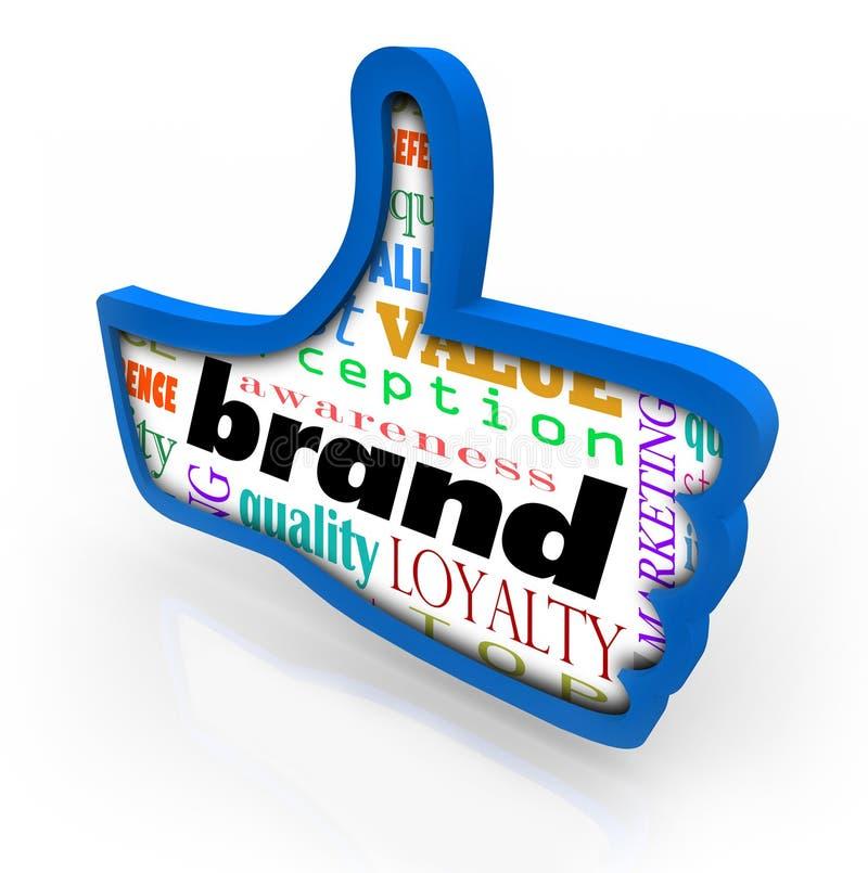 Большие пальцы руки преданности маркетинга товара бренда поднимают символ иллюстрация вектора