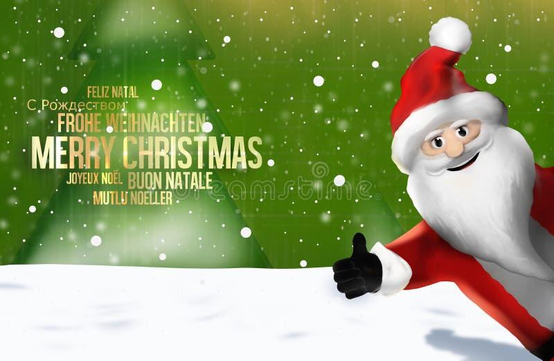 Большие пальцы руки Санта Клауса рождества многоязычные вверх по 3D представляют иллюстрация вектора