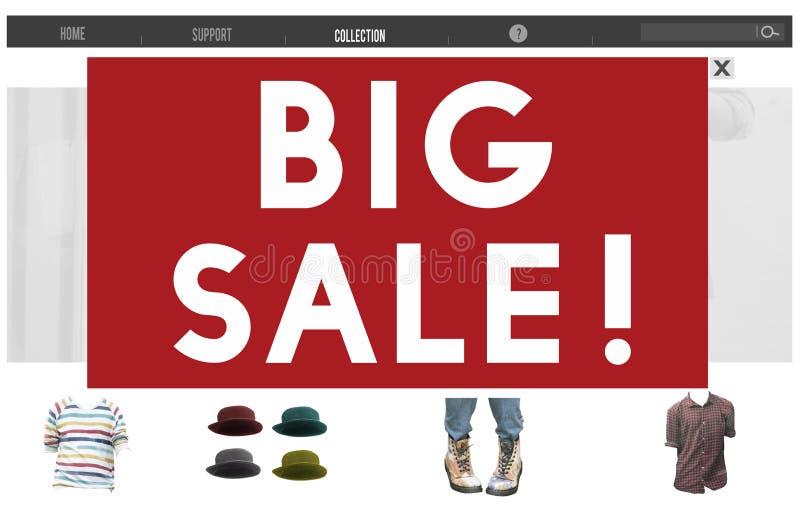 Большие продажи рекламируя концепцию продвижения скидки сезонную стоковое изображение rf