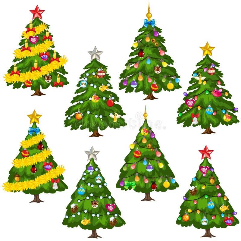Большие рождественские елки зеленого цвета комплекта на белой предпосылке иллюстрация штока