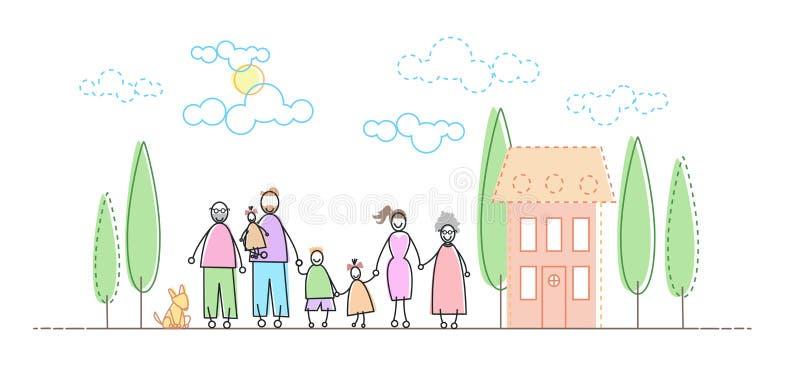 Большие родители Famity грандиозные 3 дет перед новым домом бесплатная иллюстрация