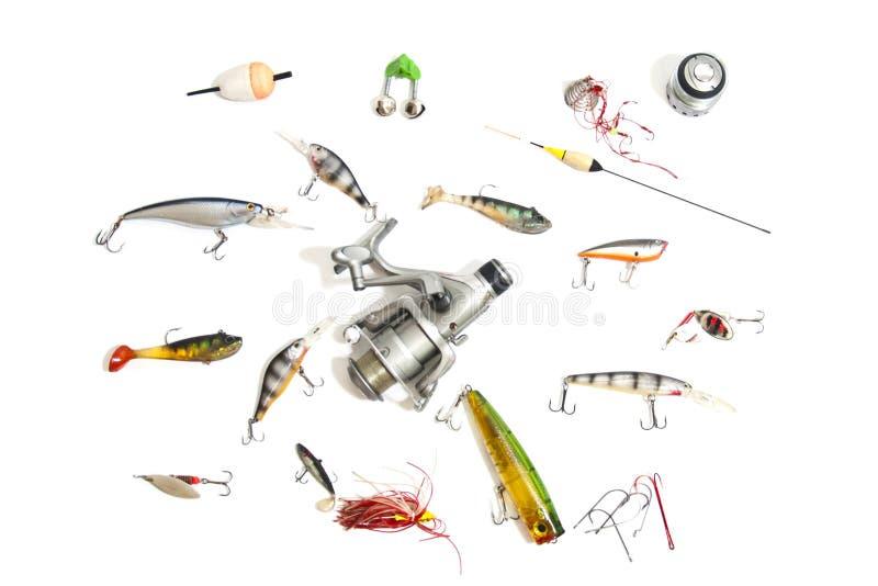 Большие рыболовные снасти комплекта, изолированные на белизне стоковые фото