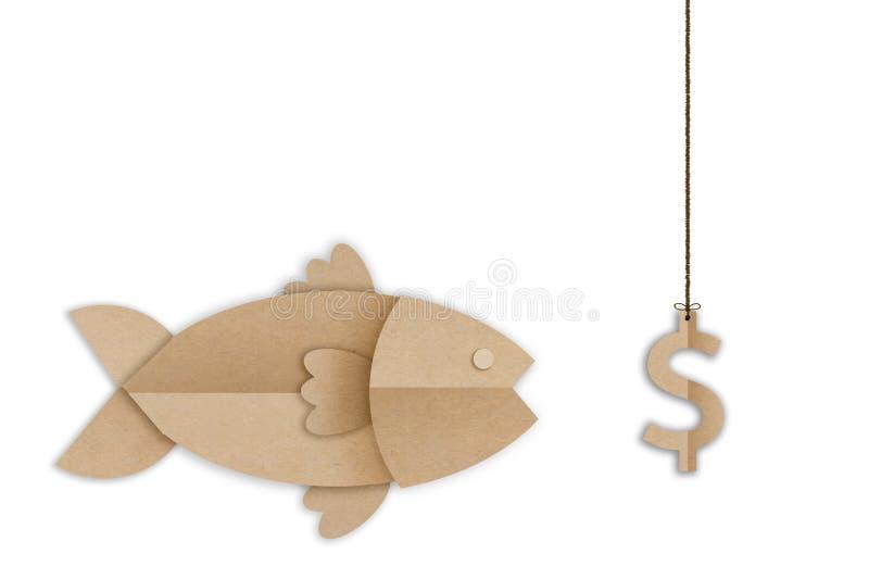 Большие рыбы есть приманку символа доллара денег стоковое фото