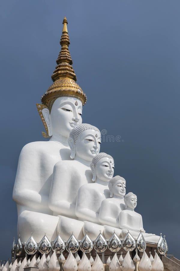Большие статуи Будды белизны 5 сидя в Wat Phra тот висок Kaew сына Pha стоковые изображения
