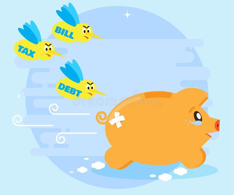 Большие счеты проблем, налоги, задолженности Уменьшение дохода, выгод потери Плача ход piggybank свиньи Плоский стиль иллюстрация штока