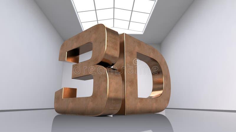Большие трехмерные медные письма Надпись 3D Большая белая комната иллюстрация 3d иллюстрация вектора