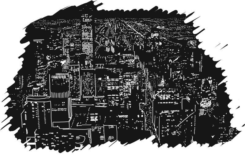 Большими введенная в моду резина вектора иллюстрации города Handcrafted светами иллюстрация вектора